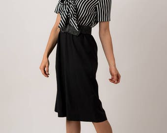 Vintage Black And White Striped Shirt Waist Dress (Size Medium)