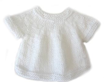 KSS Handmade White Toddler Short Sleeve Sweater/Vest (18 Months) SW-249