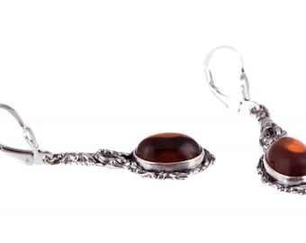 "Silver earrings with amber ""Seductive Bindweed"""