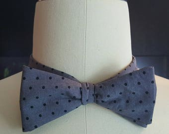Bow Tie, Dual Color Gray Polka Dot and Black Reversible