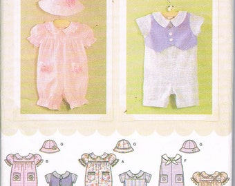 Simplicity 4289 Simply Baby Girl/Boy Romper and Hat Sizes XXS-L UNCUT