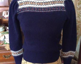 Vintage 1970s Sweater Pullover Dark Blue Acrylic White Angora Trim Adorable Sweater