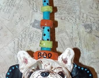 Folk Art French Bulldog Dog Whimsical Bat Halloween Antique Vintage Doll