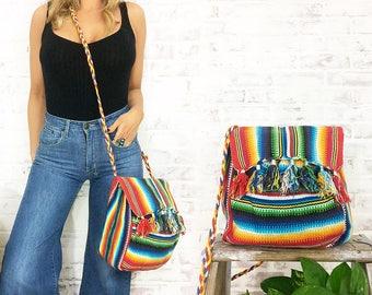 Vintage 1970's RAINBOW Woven Satchel Hippie Festival Bag    Bohemian Messenger Purse