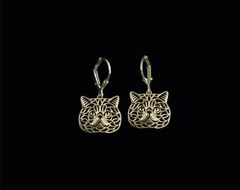 Exotic Shorthair cat earrings - gold.