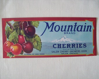 Mountain Brand Cherries Crate Label 1930s