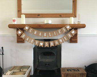 Handmade Baby Shower Paper Bunting - Can Be Personalised With First Name