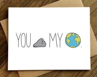 Anniversary Card - Love Card - Card for Girlfriend - Card for Boyfriend - You Rock My World.
