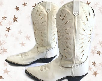 ACME White and Gold Cowboy Boots