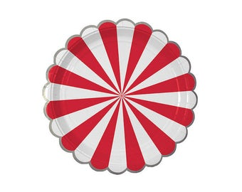 Toot Sweet Red Striped Paper Plates, Large, Meri Meri, Party Decor, Party Supplies, Tableware, Circus, Carnival, Party Theme