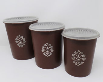 Tupperware Canister Set brown with clear servalier lids vintage retro kitchen storage