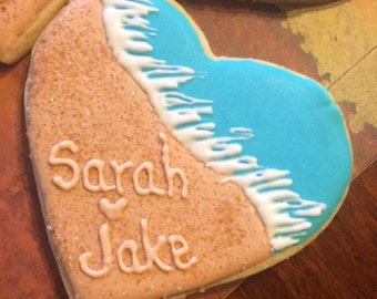 12 Custom Heart shaped beach theme handmade cookies