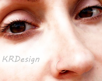 14K Rose Gold Filled-Solid Gold-Nose Ring-Tragus-Septum-Earrings / Free US Shipping
