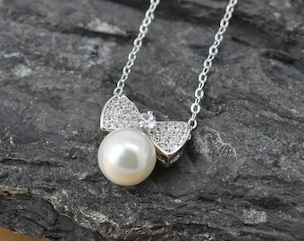 Bow Necklace, Bow Pendant, Bow Jewelry, 925 Sterling Silver, Pearl Crystal Necklace Pendant, Bridesmaid Gift,Bridesmaid Necklace
