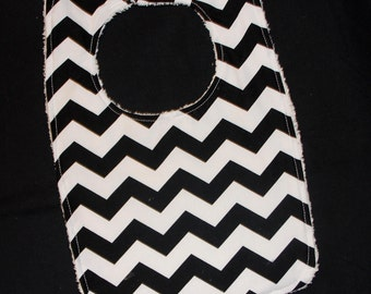 Toddler Bib - Black Chevron Toddler Bib