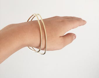 Bangle, Triangle - Rounded Triangular Bangle Bracelet in Brass, Copper, or Silver