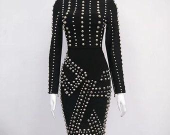 Black Studded Bandage Dress