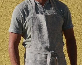 Long Linen Apron for Men - Chef apron - Handmade in Lithuania - Softened natural linen - Eco-friendly - Gift for him