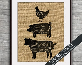 Beef, Pork, and Chicken Stacked (Butcher Diagram Series) - Art Print (Featured in French Country) Kitchen Prints