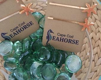 Starfish Bobby Pins,Har pins,Clips,Hairpins,Coastal Jewlery,Large and Small
