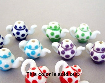 4 pairs teapot beads, lampwork glass, multicolor teapots, cobalt blue, green, turquoise, and purple polka dot tea pot beads