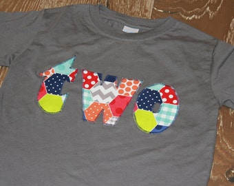 SALE - 2, two, preppy patchwork, hexigon, second birthday, short sleeve, ready to ship, size 3