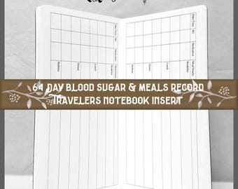 Travelers Notebook Insert 64 Day Blood Sugar Record, 9 Travelers Notebook Sizes, 40 Cover Colors
