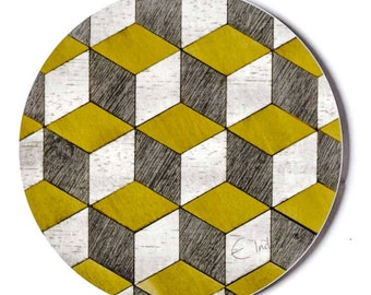 4 Coasters Geometric coasters Round Coasters Retro Yellow Melamine Mustard Coasters Gray Coasters Yellow Grey Birthday Gift FREE UK Shipping