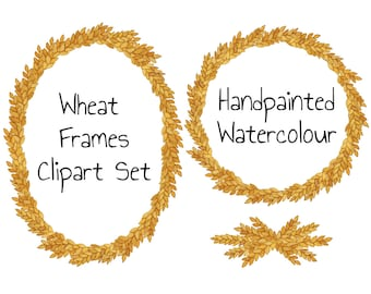 Fall Clip Art wreath Watercolor Clip Art Frames Digital Clipart Wreath Wheat Branches Leaves Oval Round Harvest clipart signs DIY PNG