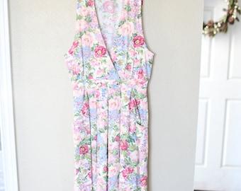 vintage 1980s pink floral jumper dress