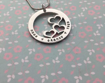 hand stamped triple heart necklace washer,names, granny, personalised,granchildrens names, stainless steel, valentines, super shine,custom