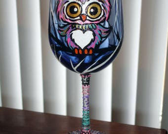Owl wine glass with stem also painted