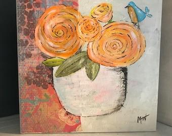 Orange Blossoms Blue Whimsical Bird 8x8 Acrylic Painting