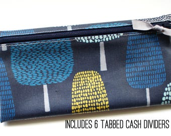 Cash organizer wallet in navy and multicolor matte laminated cotton | 6 tabbed dividers