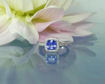 Tanzanite Ring, Tanzanite Silver Ring, Tanzanite Sterling Ring, Tanzanite, Tanzanite Halo Ring, Halo Ring, Tanzanite Jewelry, Gemstone Ring