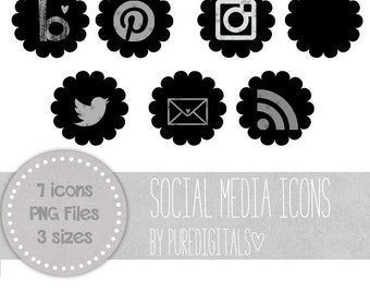 Black Social Media Icons, Blog and Gray Buttons, Social Media Buttons, Cute Social Media Buttons, Black Blog Buttons, Website Icons