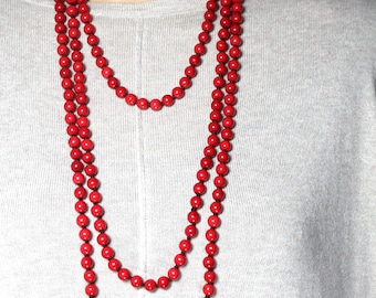 Red Necklace, Long Beaded Necklace, Red Jewelry, Wrap Necklace, 36inch Necklace, 48 inch Necklace(2 necklaces included)