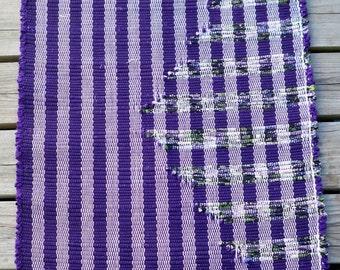 "Handwoven Rag Rug, ""BASIC GEOMETRY"" Pattern - Purple, Lilac Multi (Inv. Id 03-0661)"