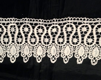 1 Yards Ivory Venice Lace Venise Trim 3 1/4 inch Wide SHIPS FROM USA