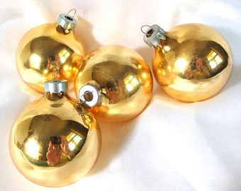 4 Vintage Christmas Ornaments, Collection of Gold Ornaments