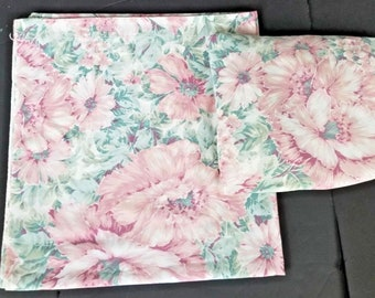 Vintage Queen Sheet Set Flat Fitted Mauve Pink Green Floral Percale
