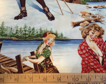 Pin-up girls/great outdoors cotton fabric by the yard