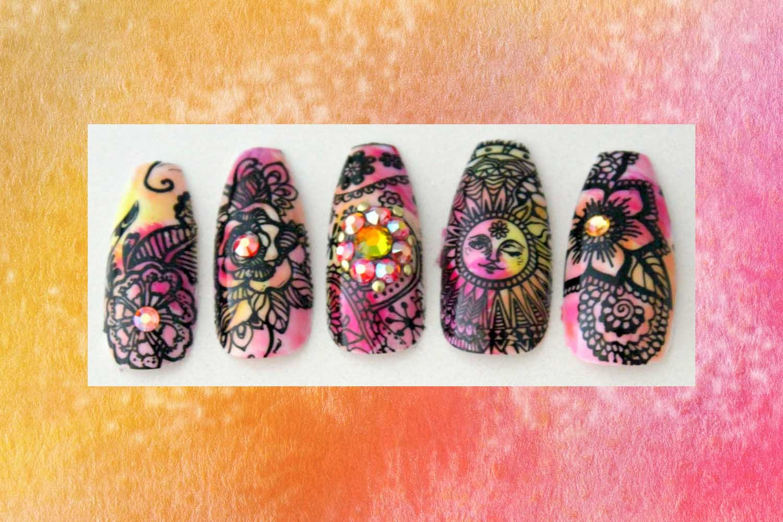 Boho Sunshine Extra Long Coffin Nails   Ballerina Press On Nails ...
