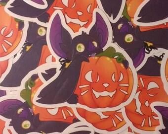 "Star the bat with pumpkin, clear sticker 3"""