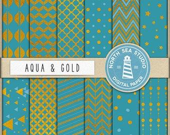 BUY 5 GET 8 | Gold Digital Paper Pack | Scrapbook Paper | Printable Backgrounds | 12 JPG, 300dpi Files