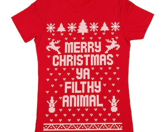 Merry Christmas Ya Filthy Animal Ugly Sweater Contest Retro Cute Women's Jr Fit T-Shirt DB0002