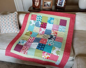 ON SALE: Red quilt blanket butterfly nursery lap quilt trees flowers baby girl Momo fabric Just Wing It