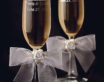 White Rose Wedding Toasting Glasses - Custom Engraving Available - 30275