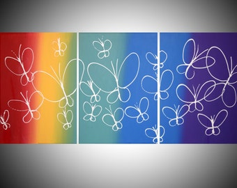 butterfly rainbow extra large wall hanging art triptych acrylic abstract  painting vibrant 3 three panel painting on canvas 3 large size