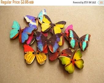 SALE 10 Colorful Wooden Butterflys - 10 Butterflys